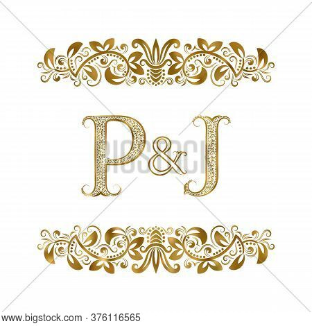 P And J Vintage Initials Logo Symbol. The Letters Are Surrounded By Ornamental Elements. Wedding Or