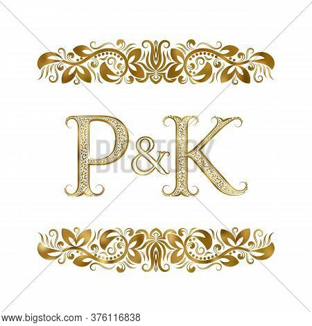 P And K Vintage Initials Logo Symbol. The Letters Are Surrounded By Ornamental Elements. Wedding Or
