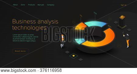 Business Analysis In Isometric Vector Illustration. Data Analytics For Company Marketing Solutions O