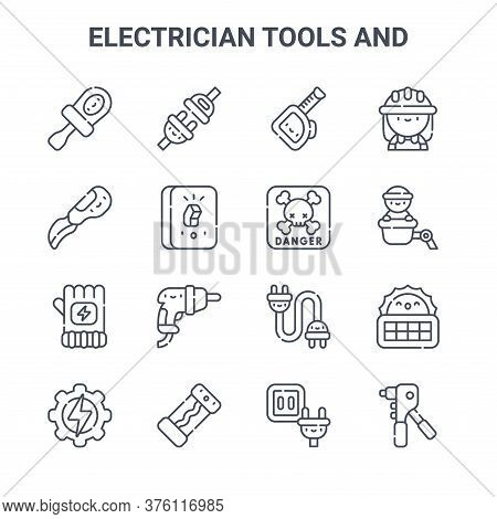 Set Of 16 Electrician Tools And Concept Vector Line Icons. 64x64 Thin Stroke Icons Such As Plug, Kni