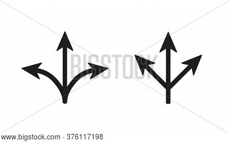 Three Way Arrows Pointers. Symbol Of Direction And Crossed Roads Road Sign Of Intersection Impossibi