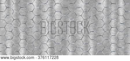 Stainless Light Backdrop Large Hexagons. Light Seamless Monochrome Background Web Modern Nickel Larg
