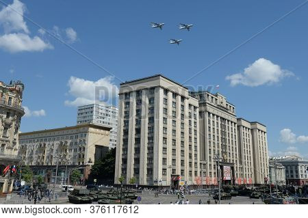 Moscow, Russia - June 24, 2020:military Transport Aircraft Il-76md In The Sky Over Moscow During The