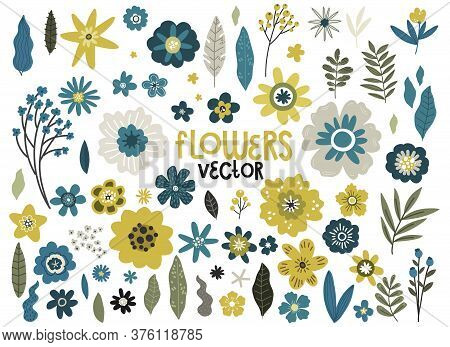 Set Of Yellow And Blue Flowers And Branches, Vector Hand Drawing Pattern Design