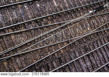 Top View Of Track Rails. Abstract Photo Transport.