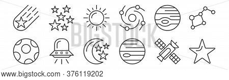 12 Set Of Linear Space Icons. Thin Outline Icons Such As Star, Neptune, Spaceship, Jupiter, Sun, Sta