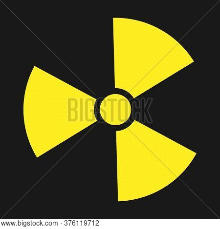 Icon Of Radioactivity. Radioactive Material, Danger Or Risk. Simple Flat Design Isolated On White Ba