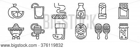 12 Set Of Linear Mexico Icons. Thin Outline Icons Such As Tepache, Wrestler, Balero, Burrito, Cigar,