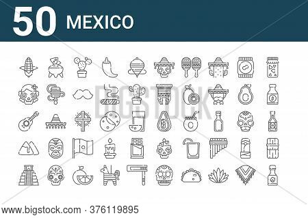 Set Of 50 Mexico Icons. Outline Thin Line Icons Such As Chili Sauce, Chichen Itza, Nachos, Guitar, D