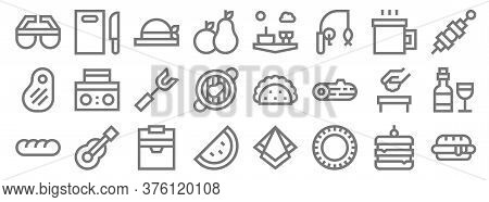 Picnic Line Icons. Linear Set. Quality Vector Line Set Such As Hot Dog, Plate, Watermelon, Bread, Tr