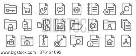 Document And Files Line Icons. Linear Set. Quality Vector Line Set Such As Pdf, File, File, Video, F