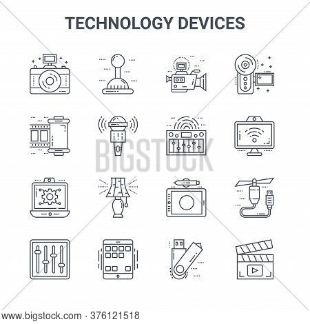 Set Of 16 Technology Devices Concept Vector Line Icons. 64x64 Thin Stroke Icons Such As Joystick, Fi