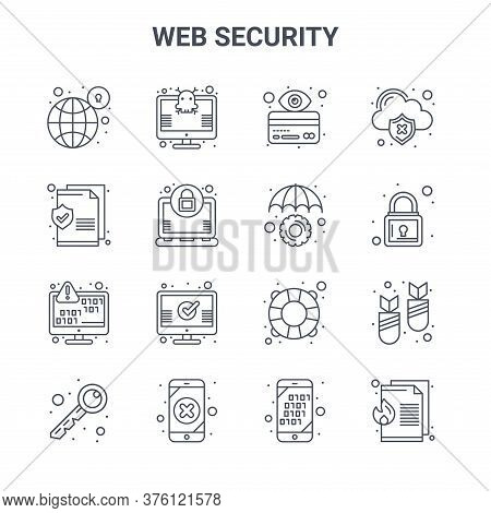 Set Of 16 Web Security Concept Vector Line Icons. 64x64 Thin Stroke Icons Such As Virus, Document, L