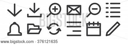 12 Set Of Linear User Interface Icons. Thin Outline Icons Such As Composed, Align Right, Folder, Zoo
