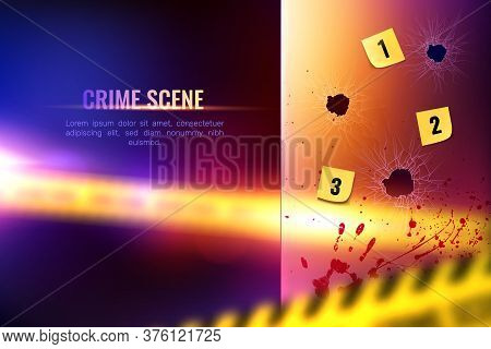 Criminalistic Detective Composition Of Realistic Bloody Spots And Numbered Bullet Holes On Blurry Ba