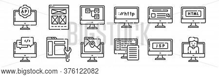 12 Set Of Linear Web Development Icons. Thin Outline Icons Such As User, Backend, Maintenance, Websi