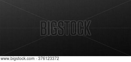 Black Background Metal Vertical Lines. Seamless Monochrome Background With Brutal Modern Black Linea