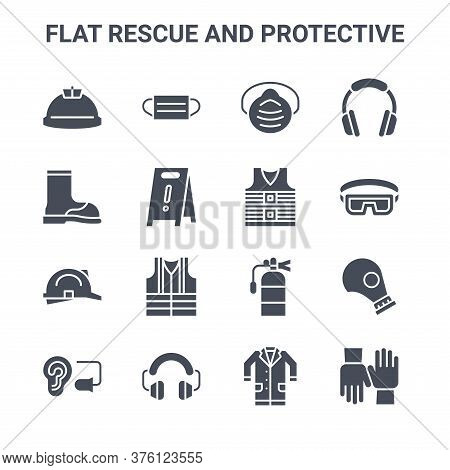 Set Of 16 Flat Rescue And Protective Concept Vector Line Icons. 64x64 Thin Stroke Icons Such As Medi