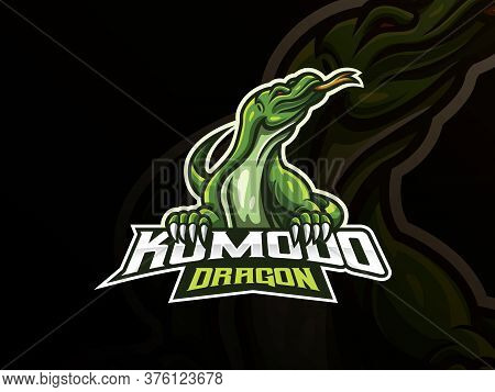 Komodo Mascot Sport Logo Design. Komodo Animal Mascot Vector Illustration Logo. Wild Komodo Dragon M