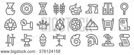 History Line Icons. Linear Set. Quality Vector Line Set Such As Papyrus, Roman Helmet, Astronomy, Sw