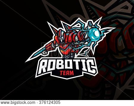Robot Mascot Sport Logo Design. Robot Warrior Animal Mascot Vector Illustration Logo. Robotic War Ma