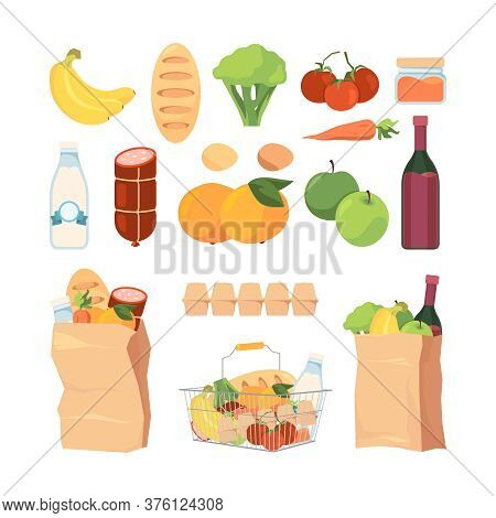 Product Bags. Shopping Carts With Different Grocery Food Healthy Fruits Milk Eat Bread Ingredients F
