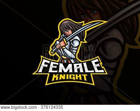 Knight Mascot Sport Logo Design. Female Knight Mascot Vector Illustration Logo. Woman Warrior Mascot