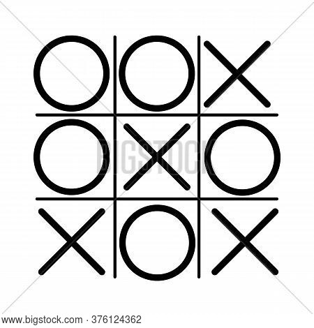Tic Tac Toe Game Icon In Red And Black Color. Tic Tac Toe Xo Icon.