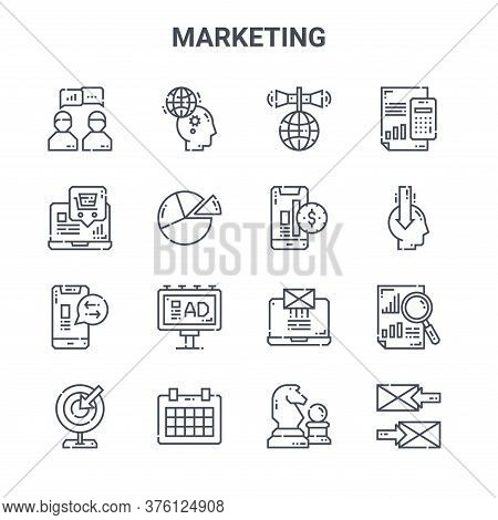 Set Of 16 Marketing Concept Vector Line Icons. 64x64 Thin Stroke Icons Such As Idea, Ecommerce, Publ