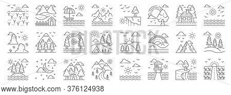 Nature And Landscape Line Icons. Linear Set. Quality Vector Line Set Such As Field, Bungalow, Landsc