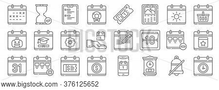 Calendar And Date Line Icons. Linear Set. Quality Vector Line Set Such As Time, Grandfather Clock, P