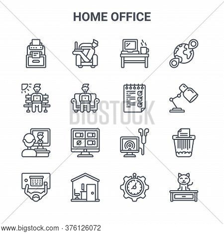 Set Of 16 Home Office Concept Vector Line Icons. 64x64 Thin Stroke Icons Such As Freelancer, Work Pl