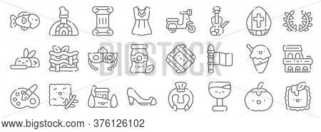 Italy Line Icons. Linear Set. Quality Vector Line Set Such As Ravioli, Wine, High Heel, Painting, Ic