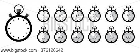 Timer Icon. Set Of Stopwatches. Clock With Stop Time And Arrow. Watch For Speed In Sport. Chronomete
