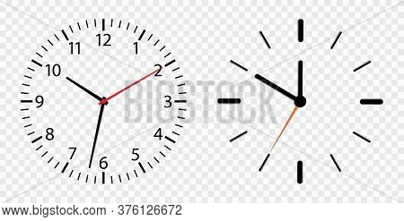 Clock Face. Watch Dial Isolated On Transparent Background. Simple Roman Round Clock On Wall. Outline