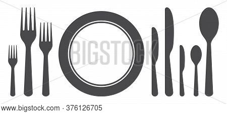 Set Of Plate, Fork, Knife, Spoon For Dinner. Icons Of Cutlery For Lunch, Breakfast. Silhouette Of Ut