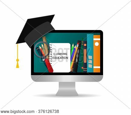 Online Education. Study In Online School Using Computer. Training Using Distance Media Technology. E