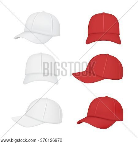 Baseball Cap. Sport Clothes Realistic Mockup Front Back Side Of Caps Vector Collection. Illustration