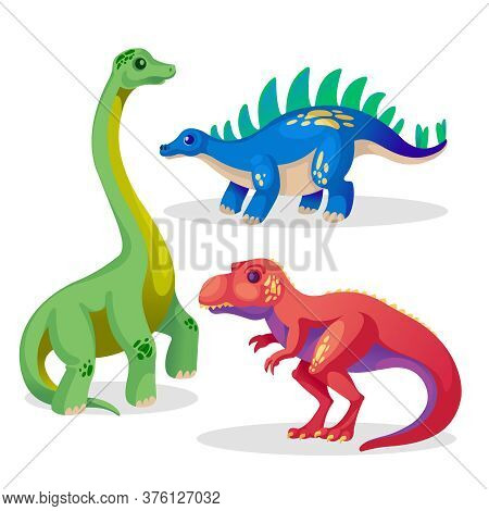 Cartoon Color Dinosaur Or Dino Icon Set Flat Design Style Include Of Tyrannosaurus And Stegosaurus.
