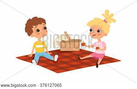 Children Picnic. Boy Girl Eating, Friendship. Isolated Cartoon Happy Kids Outdoor Summer Activity Ve