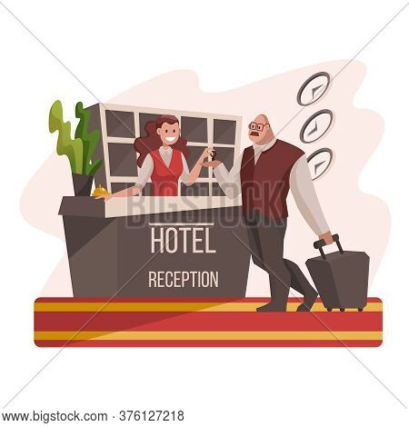 Cartoon Color Characters People Hotel Reception With Female Manager Tourism Concept Flat Design Styl
