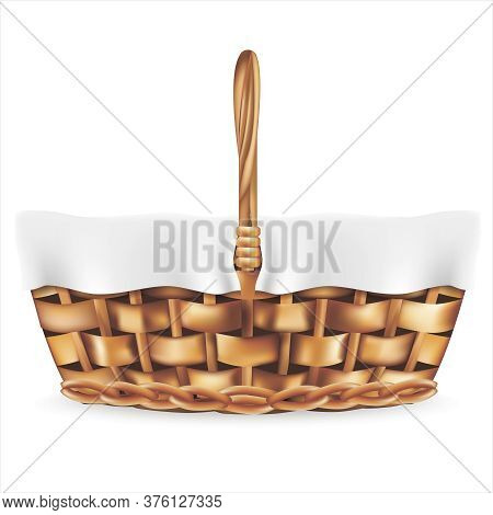 Realistic Detailed 3d Rattan Picnic Basket With Handle And White Cloth. Vector Illustration Of Wicke
