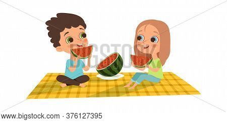 Watermelon Season. Boy Girl Eat Watermelon. Summer Outdoor Activity, Friendly Picnic On Plaid Vector