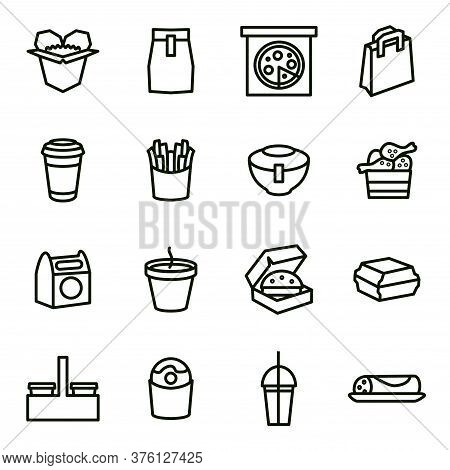Take Away Food Black Thin Line Icon Set Include Of Pizza, Beverage And Burger. Vector Illustration O