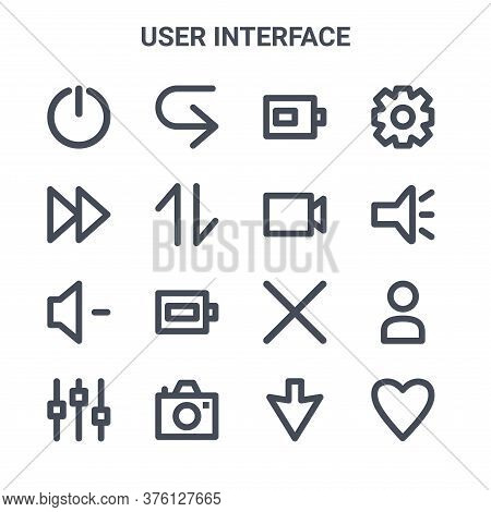 Set Of 16 User Interface Concept Vector Line Icons. 64x64 Thin Stroke Icons Such As Next, Fast, Torc