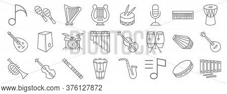 Music Instruments Line Icons. Linear Set. Quality Vector Line Set Such As Xylophone, Music Notes, Sn