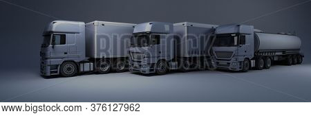 3D Render of a Cargo Delivery Vehicle Fleet