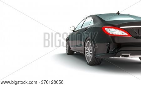 sports car detail on white background, rear view. 3d render.