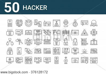 Set Of 50 Hacker Icons. Outline Thin Line Icons Such As Hacker, Virus, Hacker, Modem, Programming, D