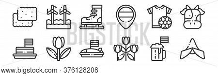 12 Set Of Linear Holland Icons. Thin Outline Icons Such As Holland, Tulips, Tulip, Tshirt, Ice Skati